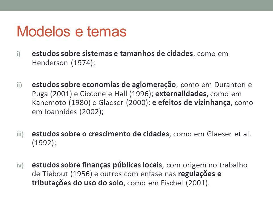 Modelos e temas estudos sobre sistemas e tamanhos de cidades, como em Henderson (1974);