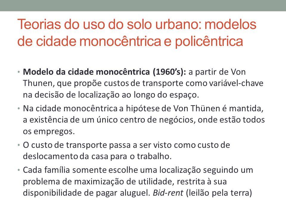 Teorias do uso do solo urbano: modelos de cidade monocêntrica e policêntrica