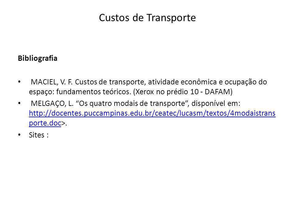 Custos de Transporte Bibliografia