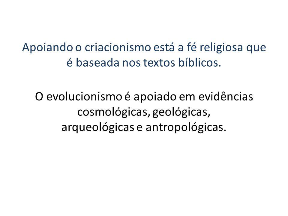 Apoiando o criacionismo está a fé religiosa que é baseada nos textos bíblicos.