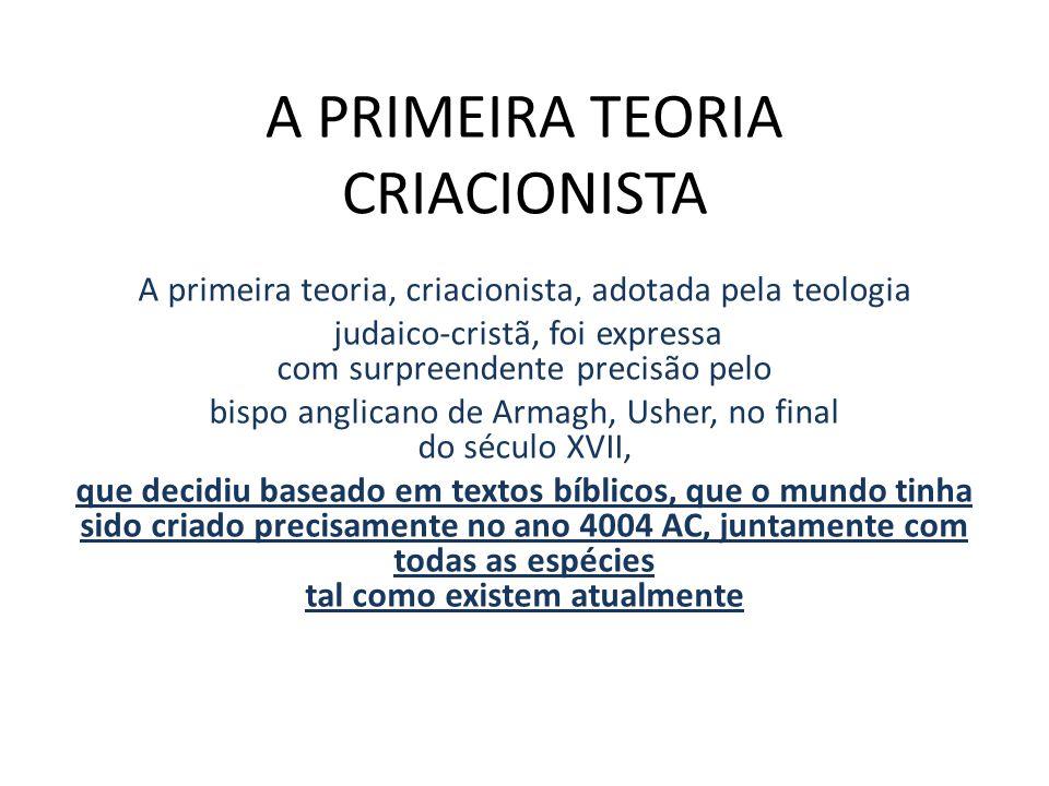 A PRIMEIRA TEORIA CRIACIONISTA