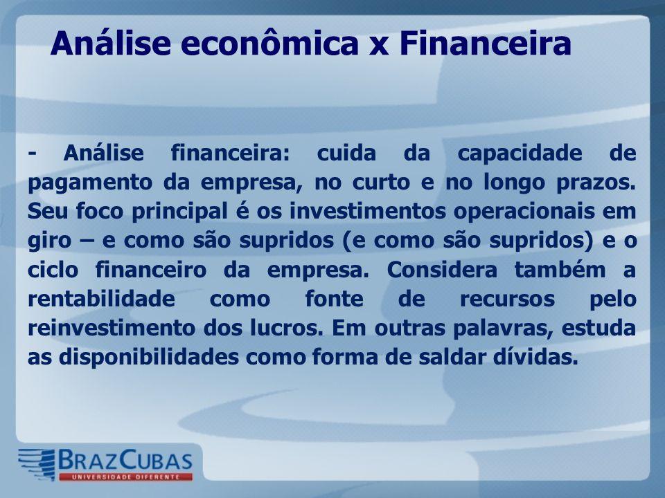 Análise econômica x Financeira