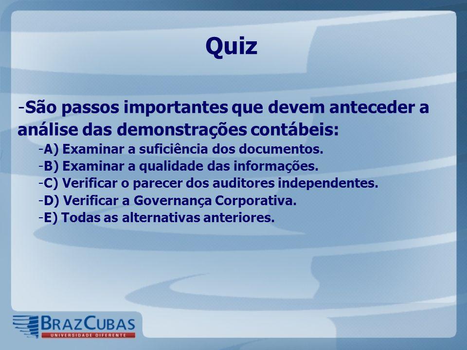 Quiz São passos importantes que devem anteceder a análise das demonstrações contábeis: A) Examinar a suficiência dos documentos.