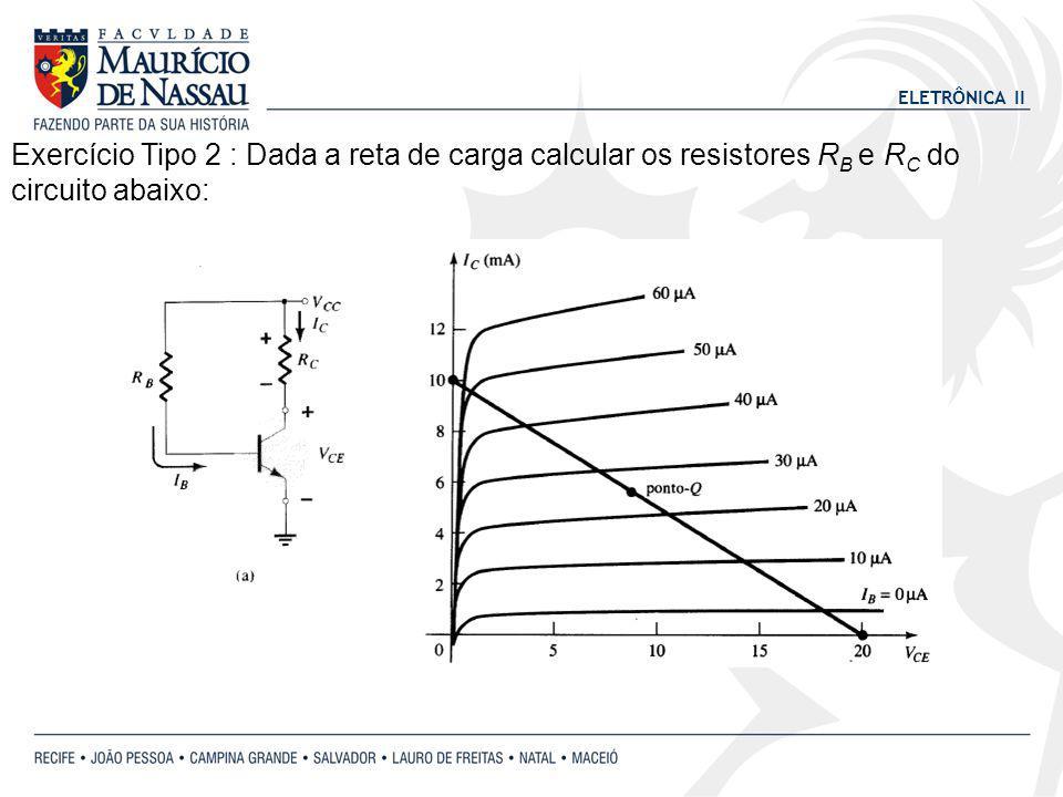 Exercício Tipo 2 : Dada a reta de carga calcular os resistores RB e RC do circuito abaixo: