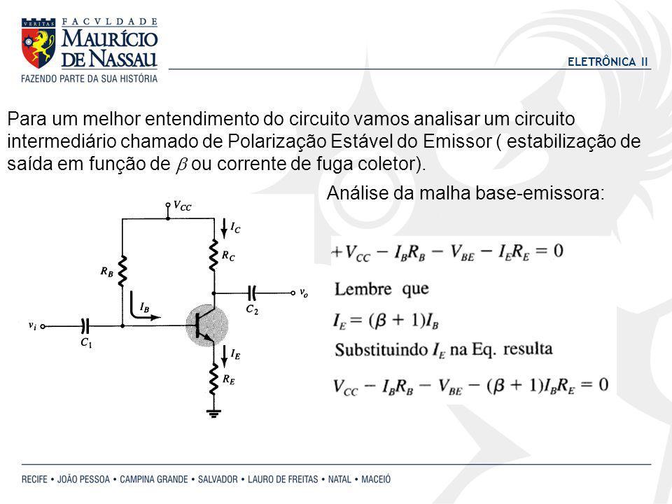 Para um melhor entendimento do circuito vamos analisar um circuito intermediário chamado de Polarização Estável do Emissor ( estabilização de saída em função de b ou corrente de fuga coletor).