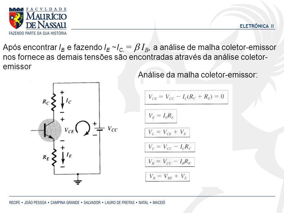 Após encontrar IB e fazendo IE ~IC, = b IB, a análise de malha coletor-emissor nos fornece as demais tensões são encontradas através da análise coletor-emissor