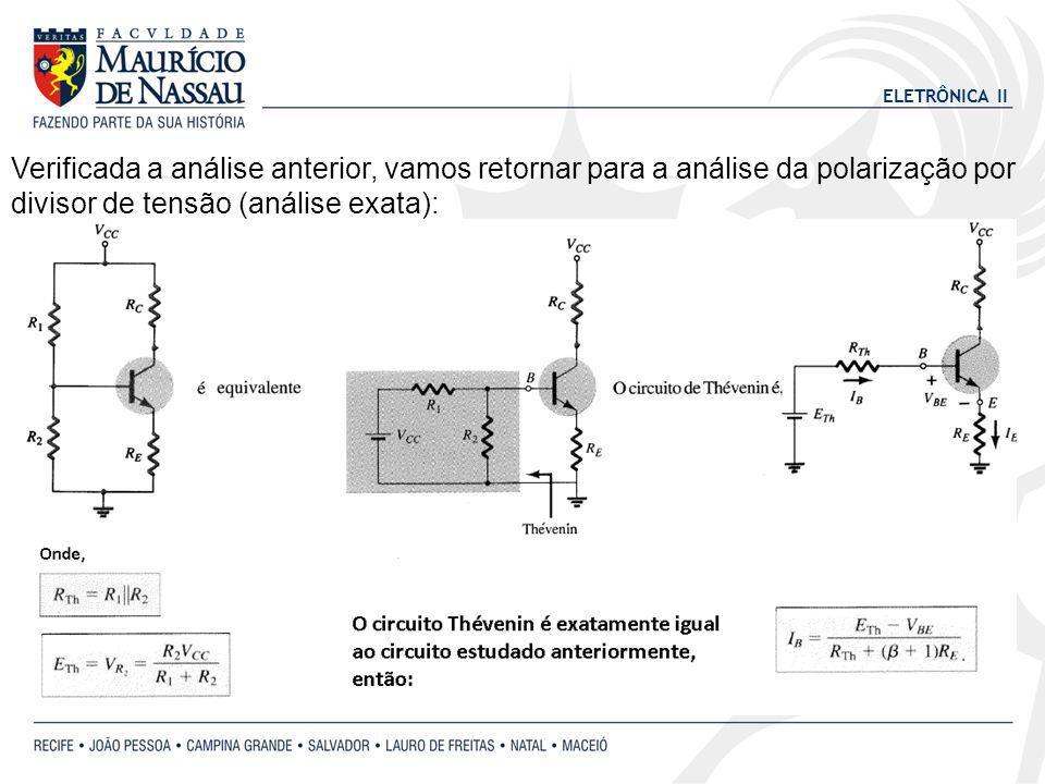 Verificada a análise anterior, vamos retornar para a análise da polarização por divisor de tensão (análise exata):