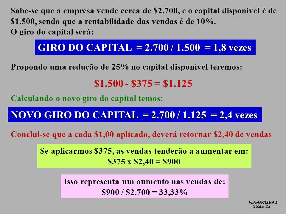 GIRO DO CAPITAL = 2.700 / 1.500 = 1,8 vezes