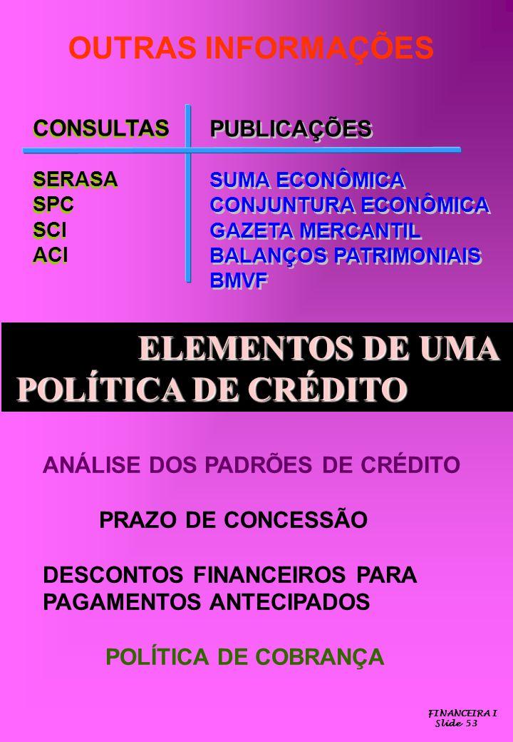 ELEMENTOS DE UMA POLÍTICA DE CRÉDITO