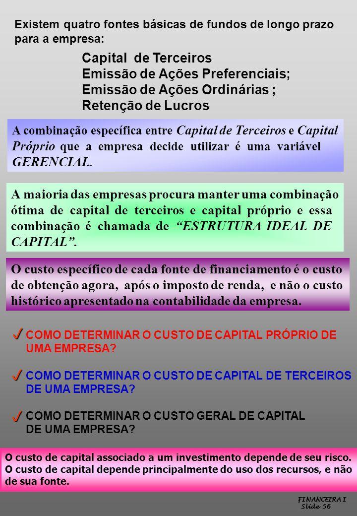 p p p Capital de Terceiros Emissão de Ações Preferenciais;