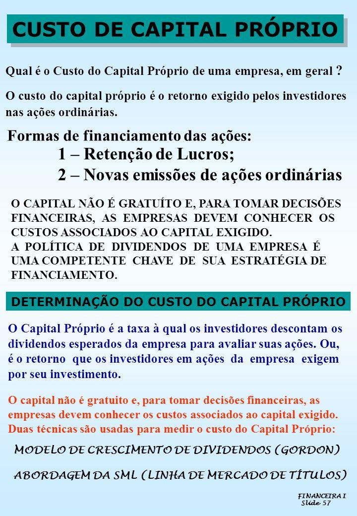CUSTO DE CAPITAL PRÓPRIO DETERMINAÇÃO DO CUSTO DO CAPITAL PRÓPRIO