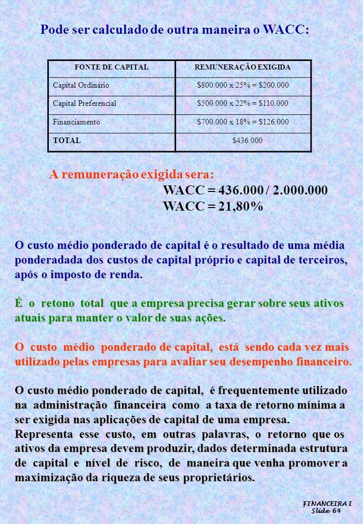 Pode ser calculado de outra maneira o WACC: