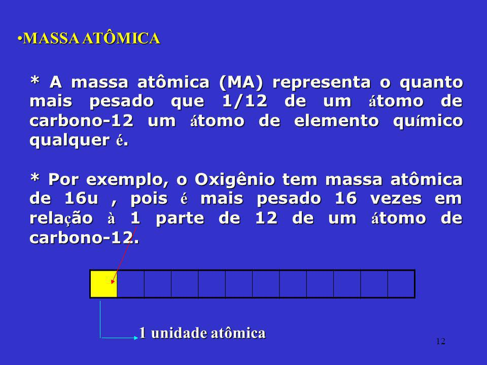 MASSA ATÔMICA * A massa atômica (MA) representa o quanto mais pesado que 1/12 de um átomo de carbono-12 um átomo de elemento químico qualquer é.