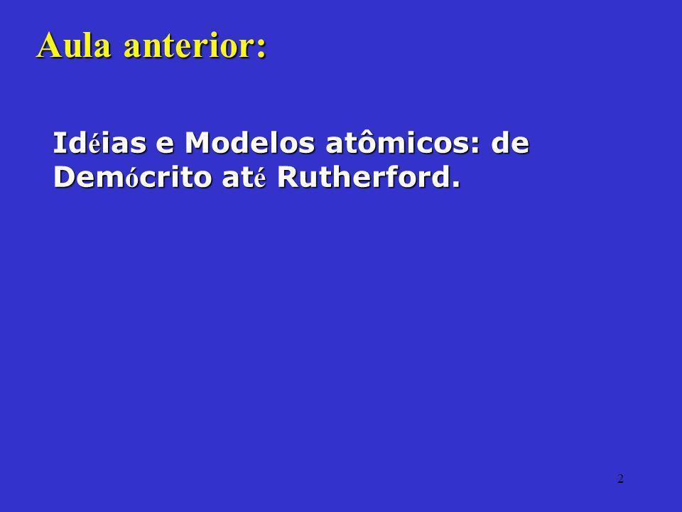 Aula anterior: Idéias e Modelos atômicos: de Demócrito até Rutherford.