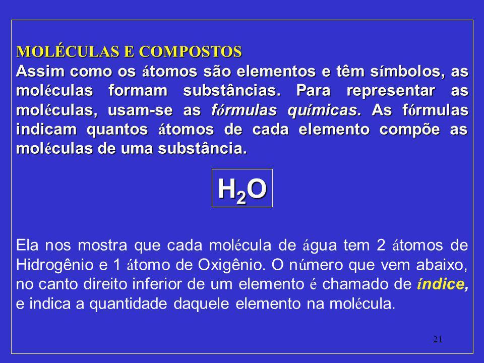H2O MOLÉCULAS E COMPOSTOS