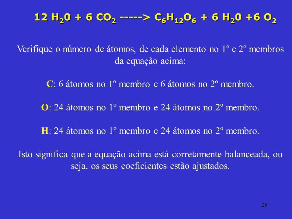 12 H20 + 6 CO2 -----> C6H12O6 + 6 H20 +6 O2