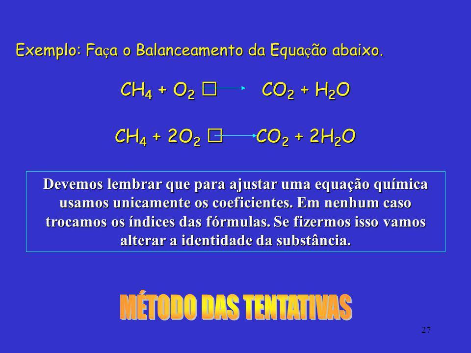 MÉTODO DAS TENTATIVAS CH4 + O2  CO2 + H2O CH4 + 2O2  CO2 + 2H2O