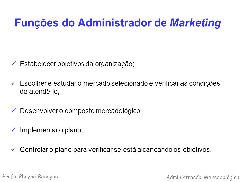 Funções do Administrador de Marketing