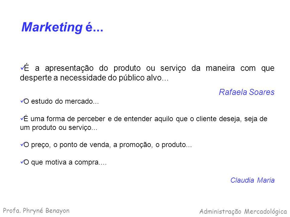 Marketing é... É a apresentação do produto ou serviço da maneira com que desperte a necessidade do público alvo...