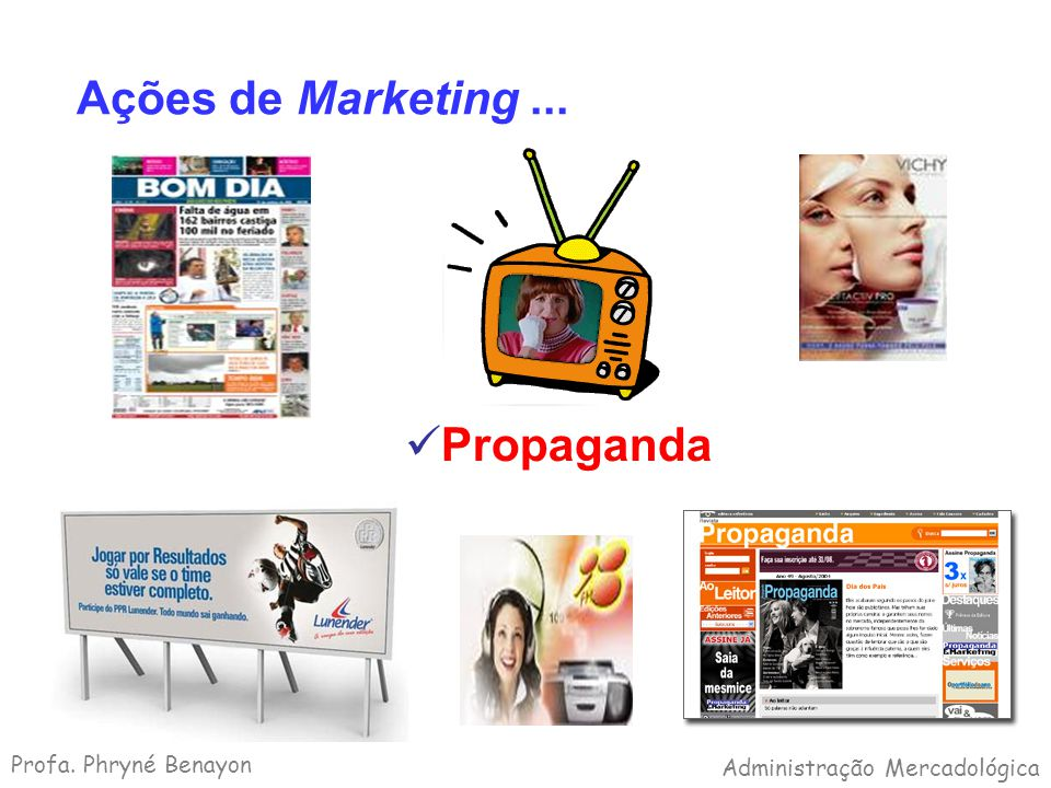 Ações de Marketing ... Propaganda Profa. Phryné Benayon