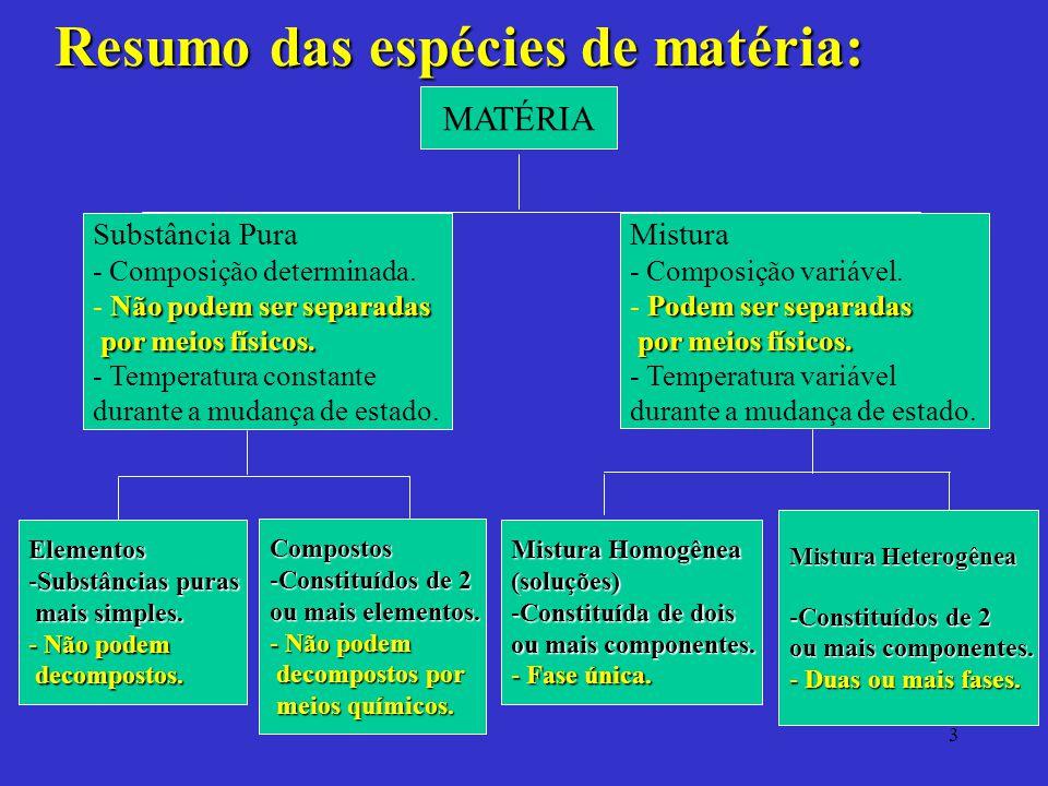 Resumo das espécies de matéria: