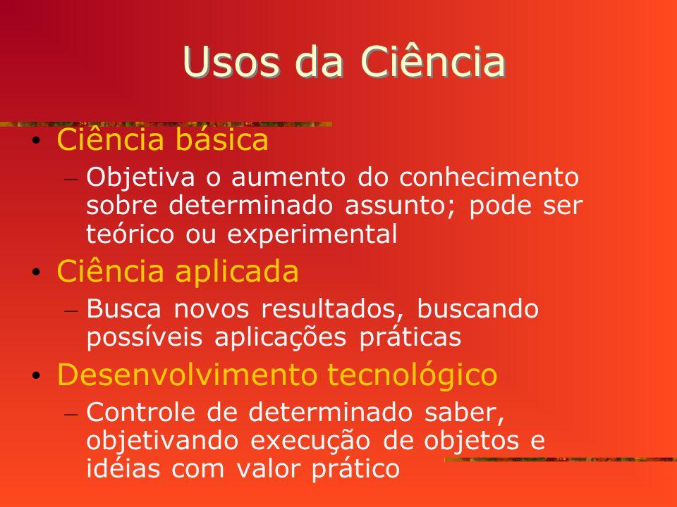 Usos da Ciência Ciência básica Ciência aplicada