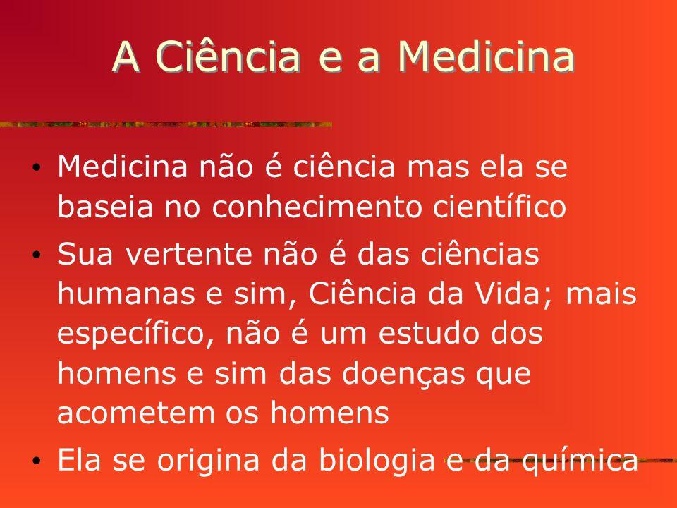 A Ciência e a Medicina Medicina não é ciência mas ela se baseia no conhecimento científico.