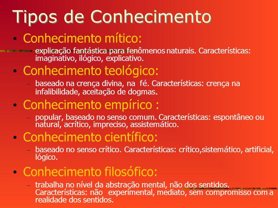 Tipos de Conhecimento Conhecimento mítico: Conhecimento teológico: