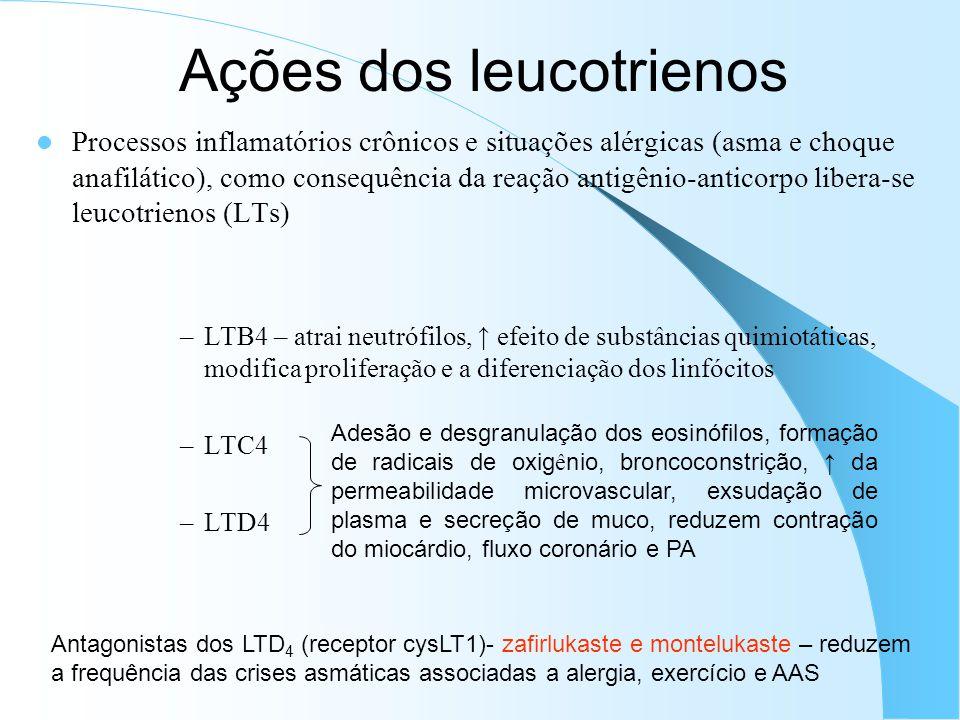 Ações dos leucotrienos