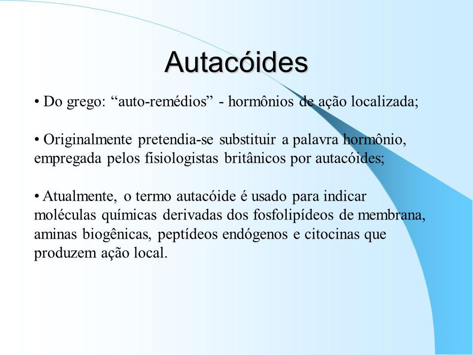 Autacóides Do grego: auto-remédios - hormônios de ação localizada;