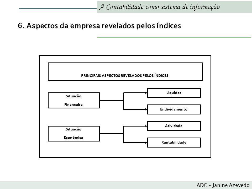 PRINCIPAIS ASPECTOS REVELADOS PELOS ÍNDICES