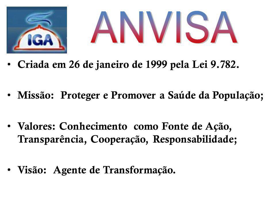 ANVISA Criada em 26 de janeiro de 1999 pela Lei 9.782.