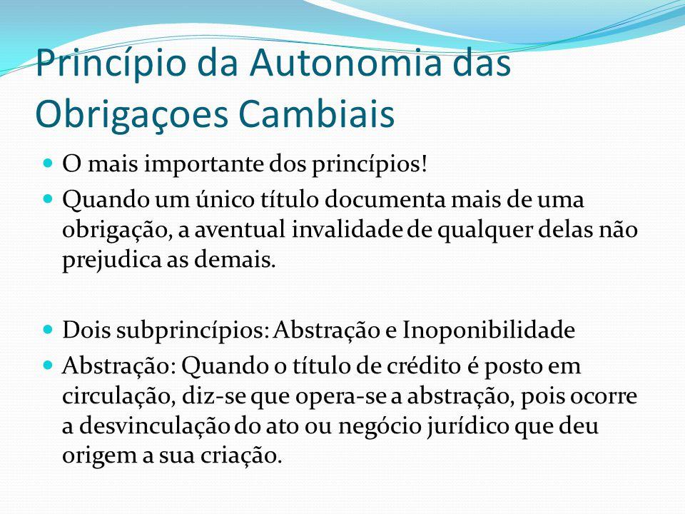 Princípio da Autonomia das Obrigaçoes Cambiais