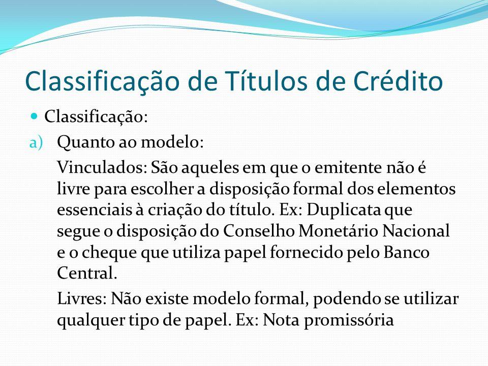 Classificação de Títulos de Crédito