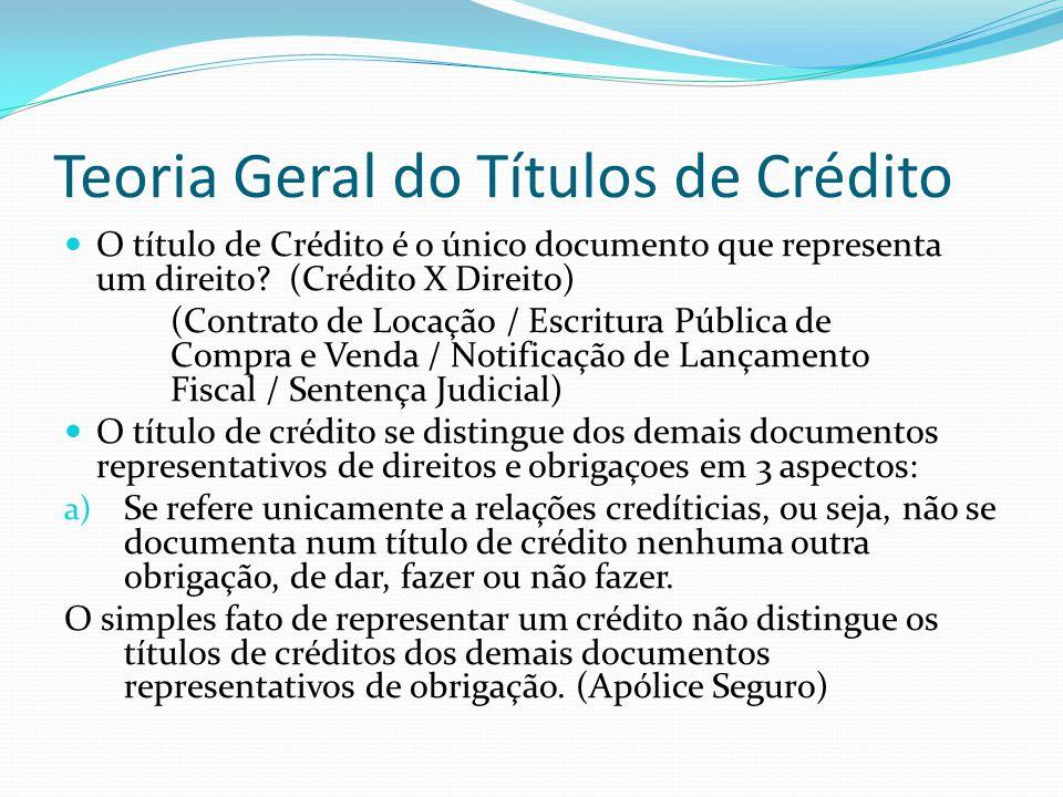 Teoria Geral do Títulos de Crédito