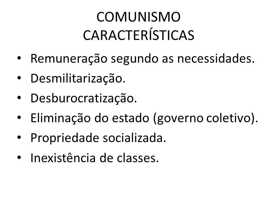 COMUNISMO CARACTERÍSTICAS