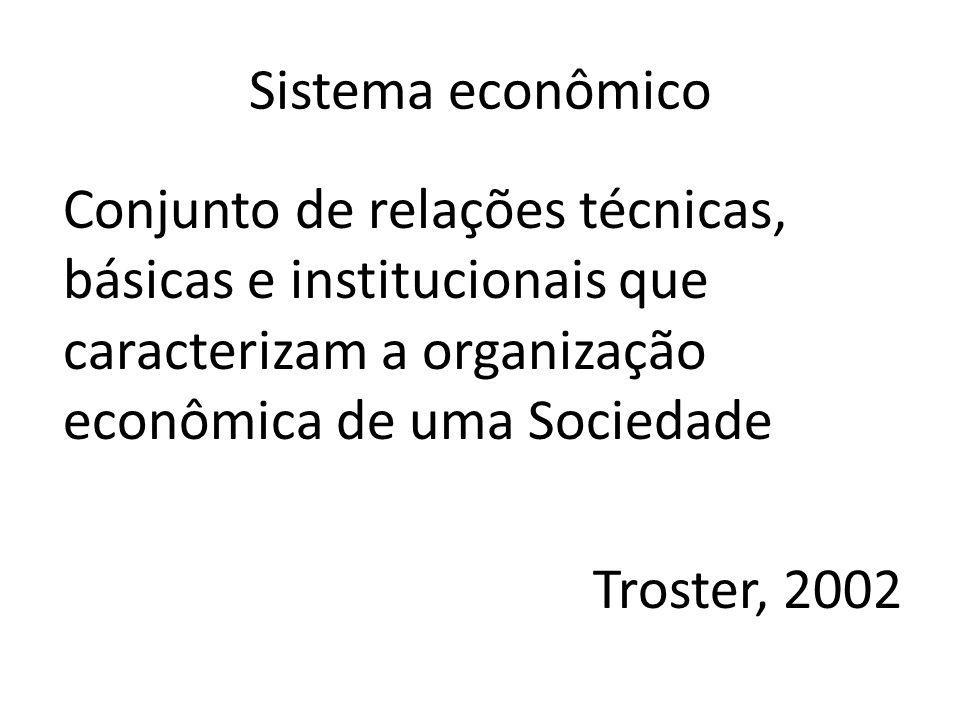 Sistema econômico Conjunto de relações técnicas, básicas e institucionais que caracterizam a organização econômica de uma Sociedade Troster, 2002