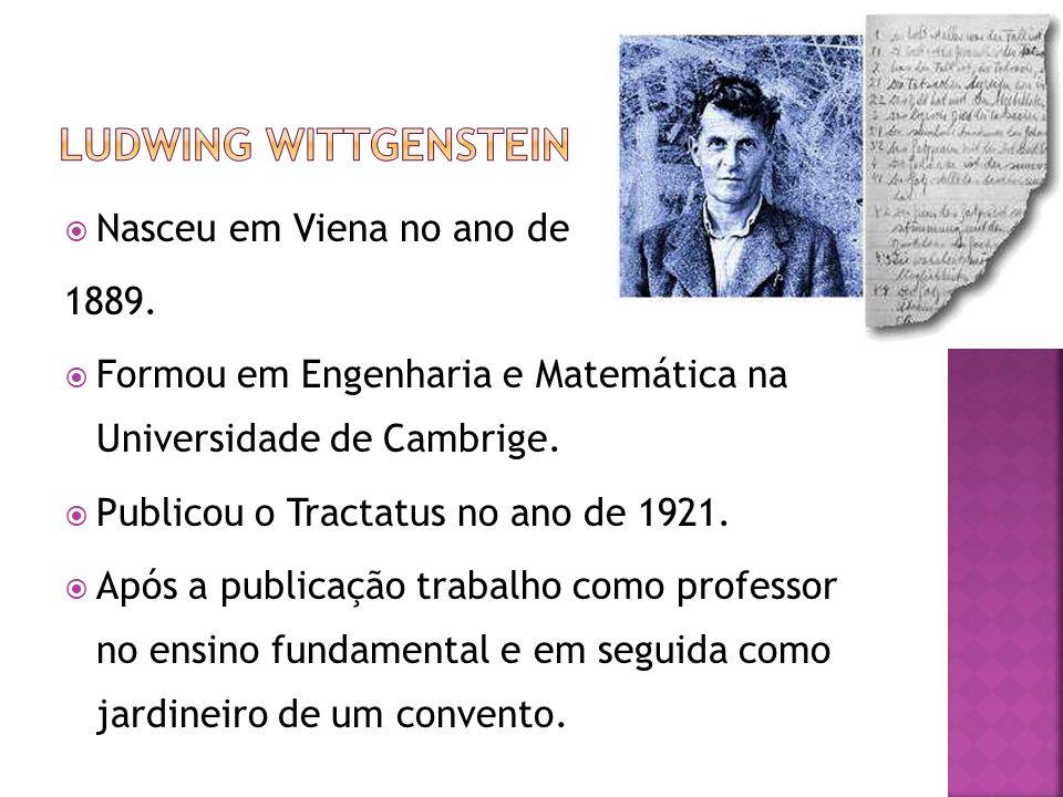Ludwing Wittgenstein Nasceu em Viena no ano de 1889.