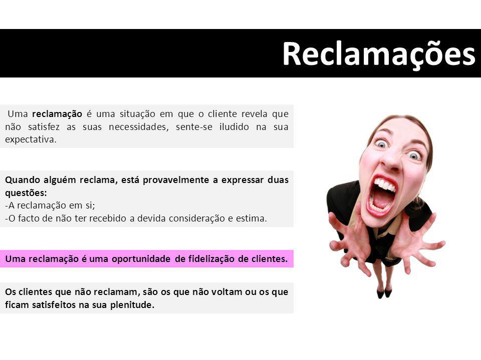 Reclamações Uma reclamação é uma situação em que o cliente revela que não satisfez as suas necessidades, sente-se iludido na sua expectativa.