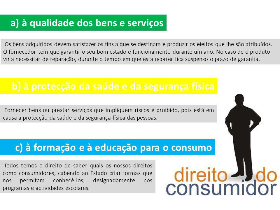 a) à qualidade dos bens e serviços