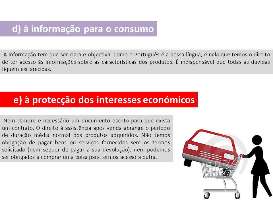 d) à informação para o consumo