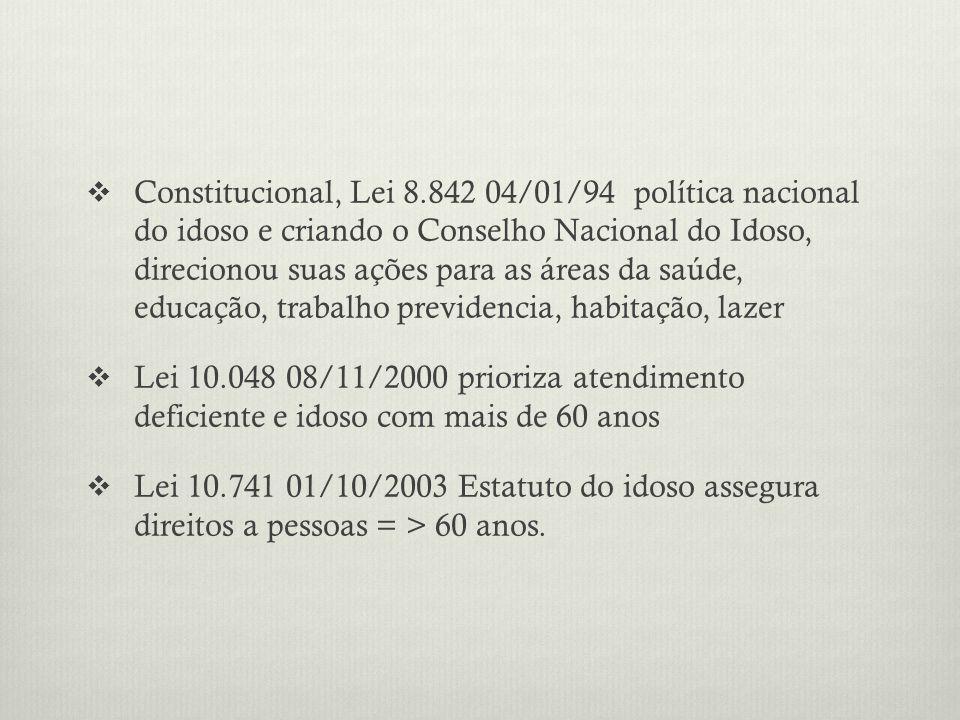 Constitucional, Lei 8.842 04/01/94 política nacional do idoso e criando o Conselho Nacional do Idoso, direcionou suas ações para as áreas da saúde, educação, trabalho previdencia, habitação, lazer