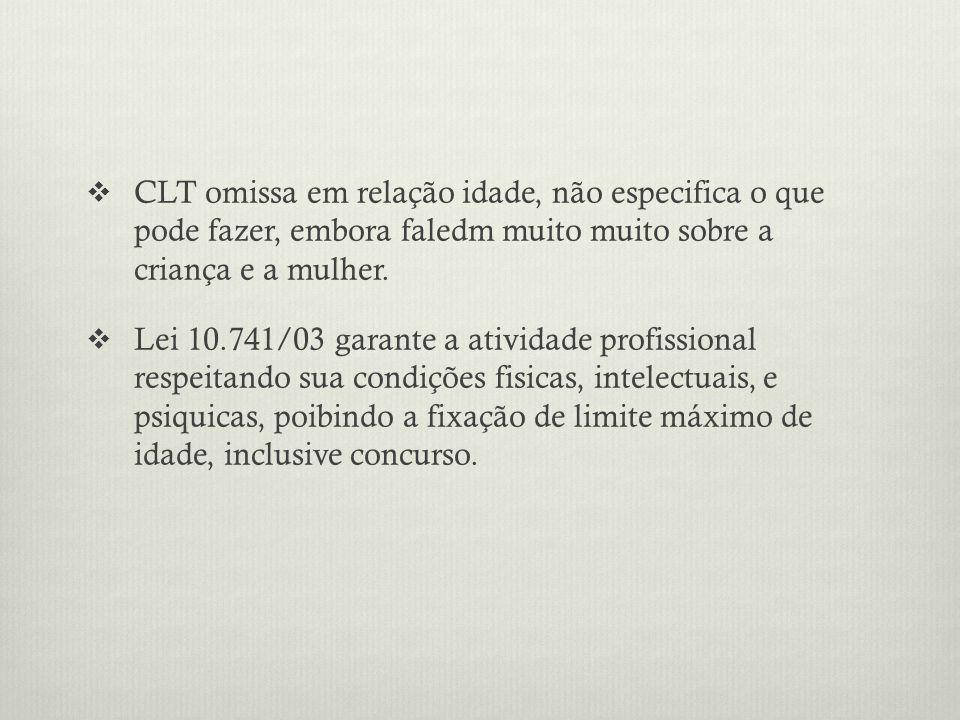 CLT omissa em relação idade, não especifica o que pode fazer, embora faledm muito muito sobre a criança e a mulher.