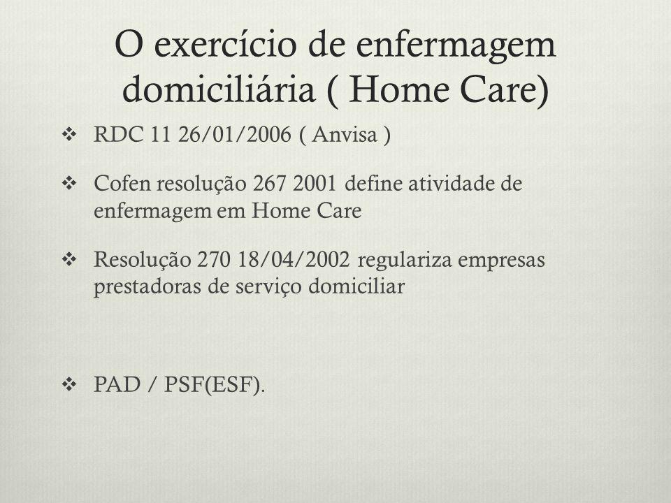 O exercício de enfermagem domiciliária ( Home Care)