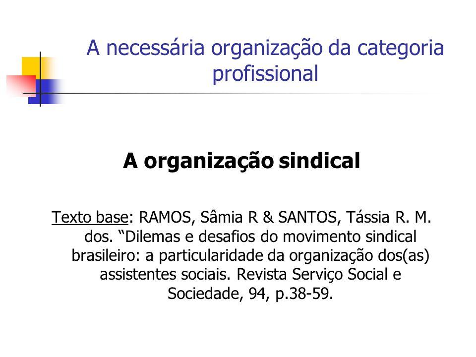 A necessária organização da categoria profissional