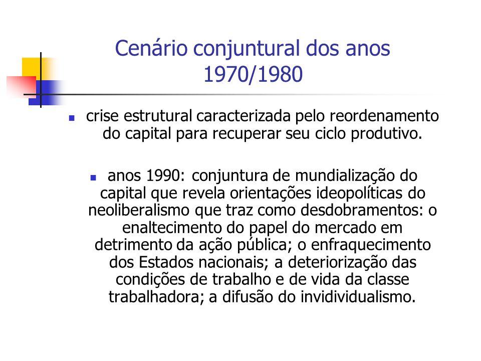 Cenário conjuntural dos anos 1970/1980