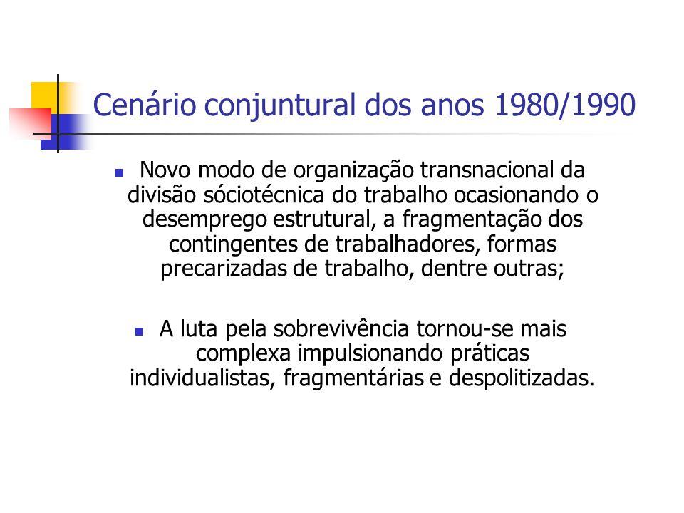Cenário conjuntural dos anos 1980/1990
