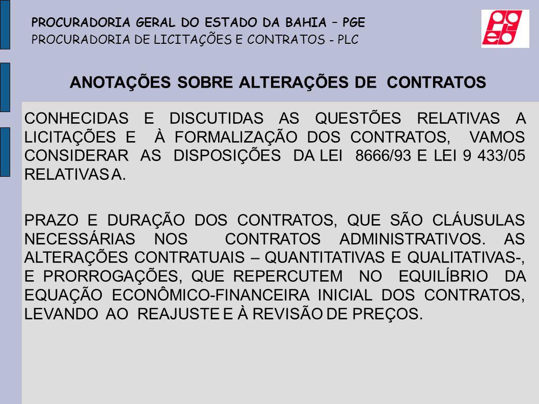 ANOTAÇÕES SOBRE ALTERAÇÕES DE CONTRATOS
