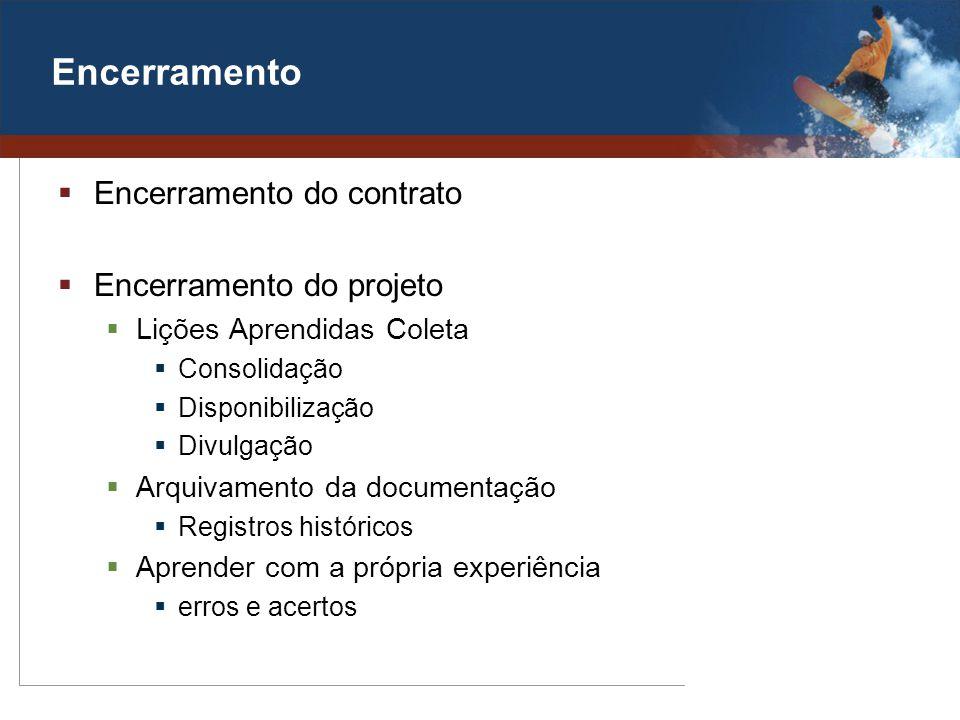 Encerramento Encerramento do contrato Encerramento do projeto