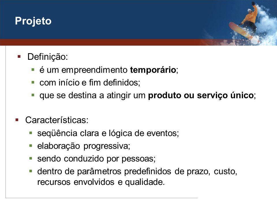 Projeto Definição: Características: é um empreendimento temporário;
